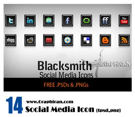 black social media icon