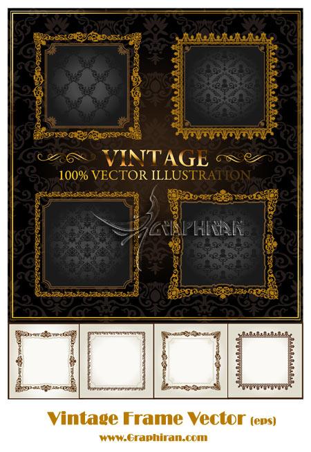 vintagevector 4 فریم اسلیمی با طرح قدیمی