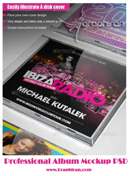 mock فایل لایه باز قاب سی دی | Professional Album Mockup