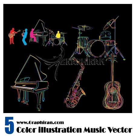 وکتور رنگی ابزار موسیقی