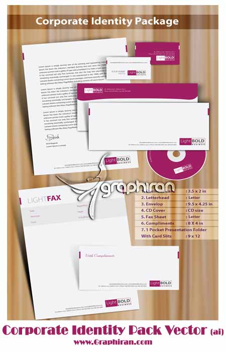 cor بسته معرفی شرکت مدرن و بنفش | Corporate Identity Pack