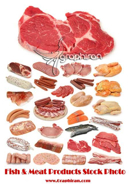 meat عکس محصولات گوشتی و ماهی | Fish & Meat Products Stock Photo