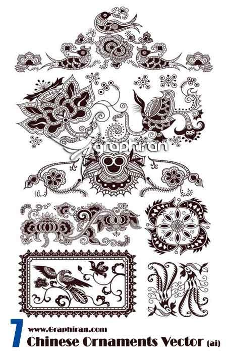 وکتور حاشیه تزئینی به سبک چینی