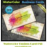 کارت ویزیت لایه باز با طرح آبرنگ | WaterColor Business Card