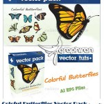 دانلود وکتور طرح پروانه های رنگارنگ | Butterflies Vector