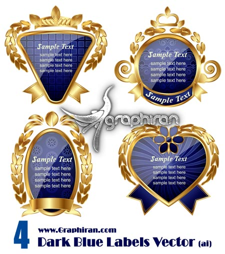 Dark Blue Stylish Labels Vector