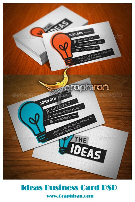Ideas Business Card دانلود طرح آماده کارت ویزیت فانتزی و حرفه ای شماره 58