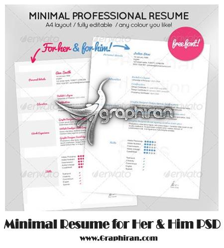 Minimal Resume for Her Him دانلود نمونه رزومه کاری آماده و لایه باز در سایز A4