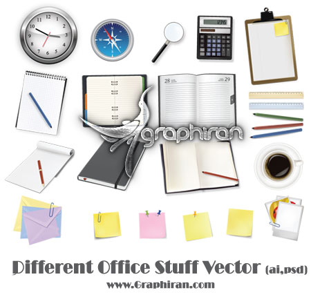 different-office-stuff-vector