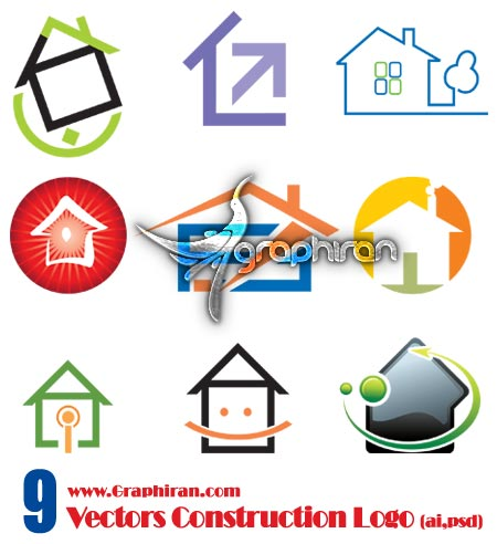 vectors color construction logo دانلود وکتور لوگوهای زیبا با موضوع املاک و ساختمان