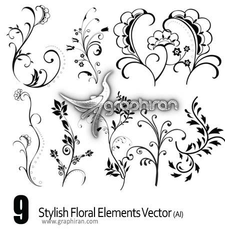 دانلود وکتورهای عناصر گل و بوته زیبا و ساده