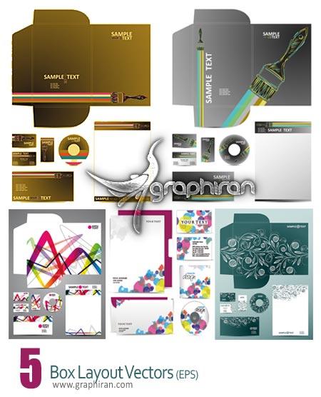 box layout دانلود ست اداری شامل سربرگ، کارت ویزیت، جعبه بسته بندی، پاکت نامه و جلد CD