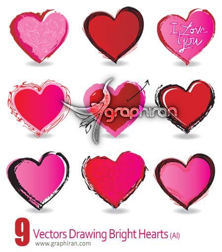 دانلود وکتورهای قلب طراحی شده با دست