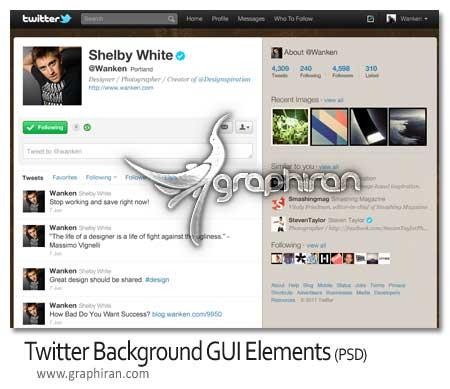 طرح لایه باز قالب رابط کاربری شبکه اجتماعی توییتر