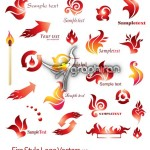 دانلود وکتور لوگوهای با طرح شعله های آتش – Fire Logo Vector