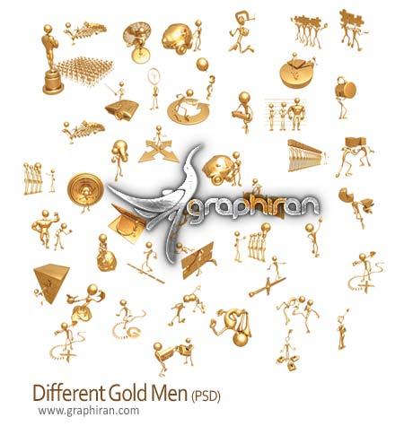 دانلود تصاویر لایه باز شکلک های طلایی تبلیغاتی - Gold Men PSD