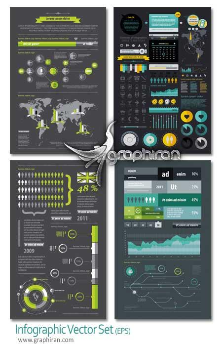 مجموعه وکتور عناصر طراحی اینفوگرافیک - Infographic vector set
