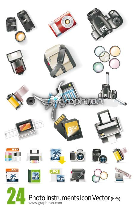 دانلود وکتور آیکون های لوازم عکاسی - Photo Icon Vector