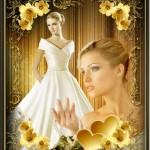 قاب و فریم عکس عروس با حاشیه گل های طلایی زیبا
