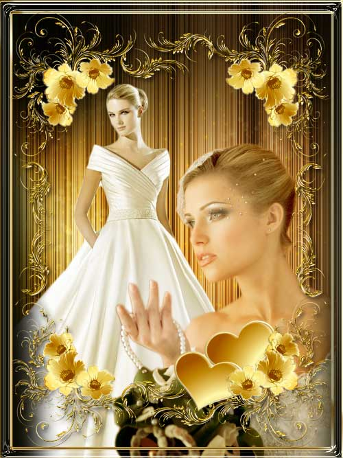 قاب و کادر عکس عروس طلایی رنگ