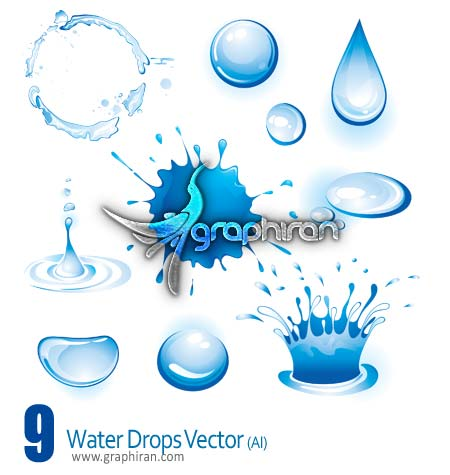 دانلود وکتور قطره های آب