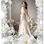 فون و فریم رایگان عروس و داماد با حاشیه گل های رز سفید رنگ