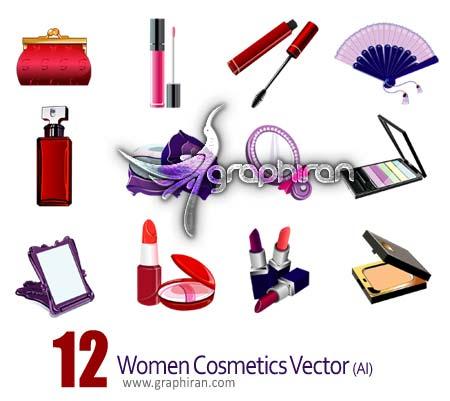 تصاویر وکتور لوازم آرایشی بانوان - Women Cosmetics Vector