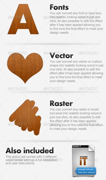 اکشن فتوشاپ Wooden iT