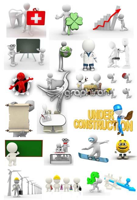 3d 2 مجموعه آدمک های 3 بعدی با موضوع مشاغل مختلف و تجارت موفق