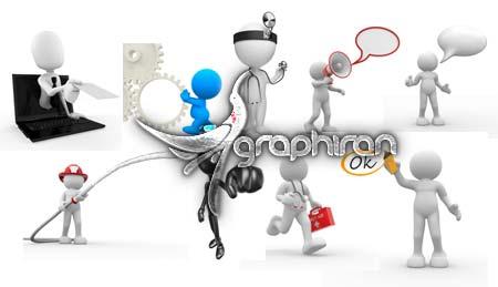 3d 3 مجموعه آدمک های 3 بعدی با موضوع مشاغل مختلف و تجارت موفق