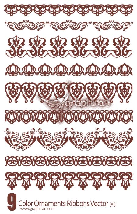 Color Ornaments Ribbons دانلود حاشیه های زیبا و کادرهای وکتور   Ornaments Vector