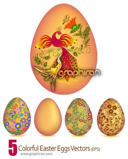 دانلود طرح وکتور تخم مرغ های رنگی عید نوروز و سفره هفت سین