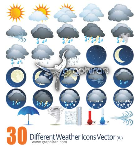 Different Weather Icons Vector
