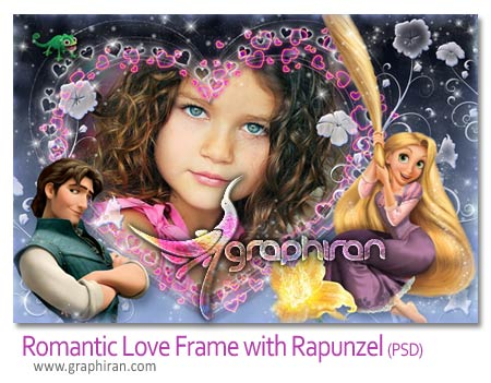 Romantic Love Frame with Rapunzel