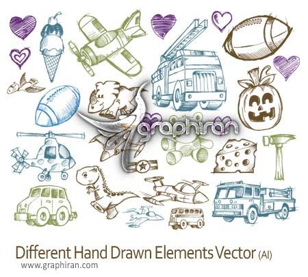 دانلود وکتور عناصر طراحی شده با دست - Hand Drawn Vector