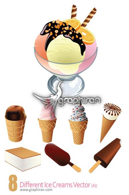 دانلود مجموعه وکتور گرافیکی انواع بستنی