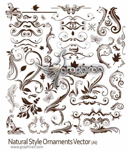 natural style ornaments vector وکتورهای گرافیکی کادر و حاشیه تزئینی با سبک طبیعت