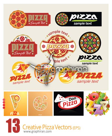 دانلود مجموعه وکتورهای خلاقانه از پیتزا