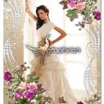 دانلود رایگان فون PSD عروسی با حاشیه و کادر گل های بهاری