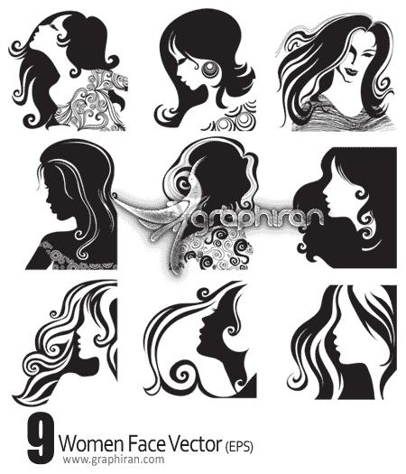دانلود وکتور طرح های صورت و چهره زنان