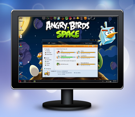 Angry Birds Space Skin Pack 2.0 for Windows 7 دانلود تم پرندگان خشمگین ویندوز 7   Angry Birds Space Skin 2.0