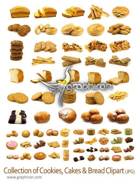 Collection of cookies دانلود مجموعه کامل عکس استوک نان، کیک و کلوچه
