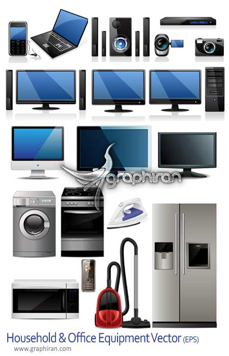 HouseholdOffice EquipmentVector وکتور لوازم خانگی و اداری   Household & Office Equipment Vector