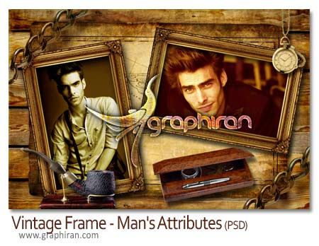 Vintage Frame Mans Attributes دانلود طرح لایه باز قاب و فریم عکس مردانه