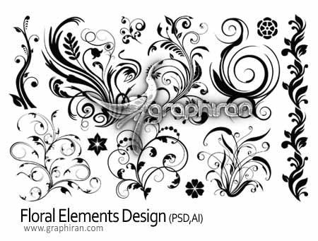 دانلود طرح های گل و بوته به صورت لایه باز و وکتور