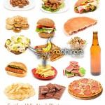 دانلود عکس شاتراستوک غذاهای فست فود شامل انواع پیتزا و ساندویچ