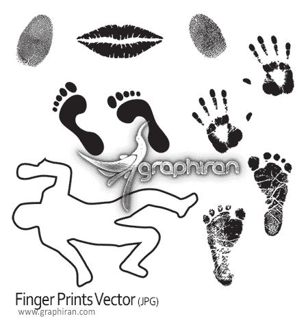طرح وکتور انواع اثر انگشت و رد پا