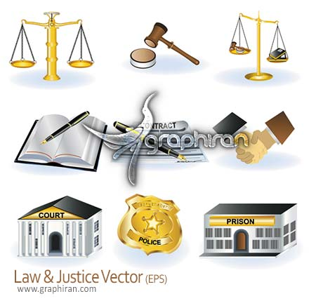 law vector دانلود وکتور با موضوع قانون و عدالت   Law & Justice Vector