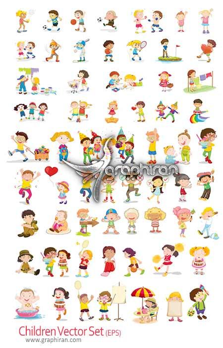 Children vector set دانلود وکتور حالات مختلف کودکان