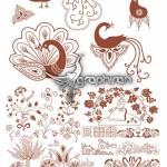 دانلود وکتور طرح های گل و مرغ و بوته سنتی و زیبا